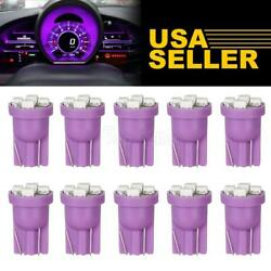 10X Purple T10 W5W 168 194 4-SMD LED Dash Instrument Cluster Gauge Light Bulbs $9.03