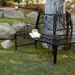 Outdoor Metal Bench Surround Tree Seating Shaded Backyard Yard Lawn Chair Seat
