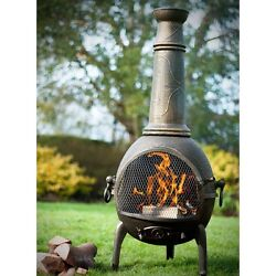 Chiminea Outdoor Fireplace BBQ Grill Wood Burning  Patio Fire Pit Portable Iron