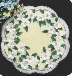 Apple Blossoms wool penny rug candle mat quilt pattern Cath's  Pennies Designs