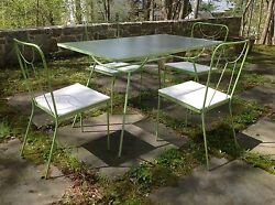 Outstanding MCM WROUGHT IRON w GLASS TOP Outdoor Dining Table 4 Chairs SET 1950s