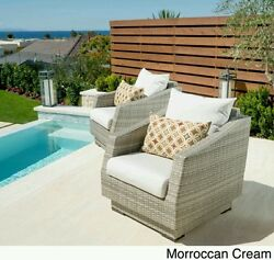 RST Brands Cannes Club Patio Chairs with Cushions (Set of 2) Patio Furniture