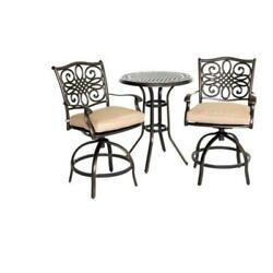 Hanover Outdoor TRADDN3PCSW-BR Traditions 3-Piece High-Dining Bistro Set