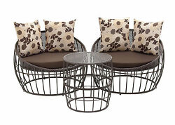 Classic Set Of Three Metal Outdoor Chair & Table