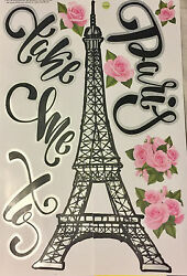 TAKE ME TO PARIS wall stickers 11 decals wall decor EIFFEL TOWER flowers $8.89