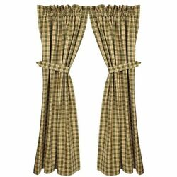 New Country Primitive Log Cabin SAGE GREEN TAN PLAID PANELS Drapes Curtains 63