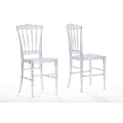 Baxton Studio  Crystal Clear Plastic Contemporary Dining Chair Set Of 2 NEW