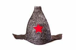 Russian Red Star Gray Wool Felt Helmet Style Hat for Sauna Banya Steamroom New