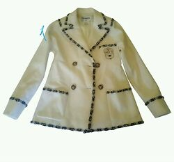 CHANEL 12A Bombay Crest Cashmere Ivory Jacket Blazer 36Small Coat MINT RARE!!