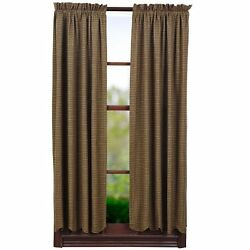 Tea Cabin Window Short Curtain Panels Green Plaid Set of 2 63inX36in New