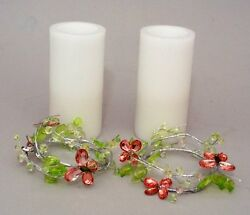 Set of 2 3X6in LED White Candles with Butterfly Candle Rings Flameless Candle