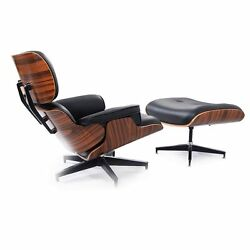 Modern Wood Eames Style Lounge Chair And Ottoman Set Armchair NEW