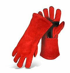 Boss Fireplace Glove Fully Lined Red Split Leather Welder Large Cowhide New