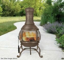 Wood Burning Fireplace Faux Heater Portable Fire Pit Double Sided See Thru Patio