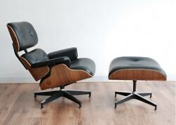 Eames Style Lounge Chair and Ottoman Swivel Armchair Footrest Rosewood Leather
