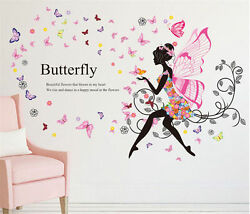 Butterfly Flower Fairy Girl Removable PVC Wall Sticker Home Decor Wall Decal USA $15.49