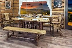 Log Kitchen Table Chairs Bench Set Amish Made Log Cabin Furniture Dining Room