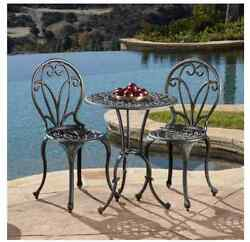 Outdoor Table And Chairs Cast Iron Bistro Conversation Patio Deck Furniture Set