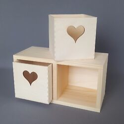 Wooden Shelves Box Two Drawer with Hearts Storage Boxes Wood Memory Keepsake