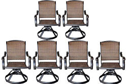 Patio outdoor Furniture Swivel Dining Chair set of ( 8 ) Cast aluminum Bronze