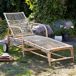 Banded Rattan Sun Bed In White Cappuccino Outdoor Lounge Chair