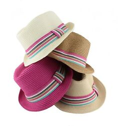 Women#x27;s Rainbow Band Flip Sun Beach Straw Hat Cowboy Hat HA4 7 $8.99