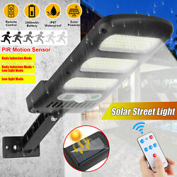 213LED Outdoor Solar Street Wall Light Sensor PIR Motion LED Lamp Remote Control