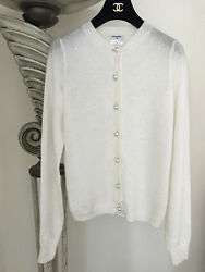 NWT GORGEOUS 2016 SS16 CHANEL WHITE CASHMERE PEARL CC LOGO CARDIGAN SWEATER 38