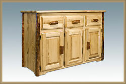 Rustic Dining Room Buffet Tables Solid Pine Log Amish Furniture Sideboard
