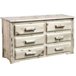 LOG 6 Drawer Dressers Amish Made Rustic Lodge Furniture Cabin Style