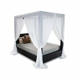 Patio Heaven Signature Patio Canopy Bed in Espresso-Navy Blue