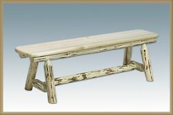 Rustic Dining Table Bench  6 Ft Long Amish Made Benches Log Dining Furniture
