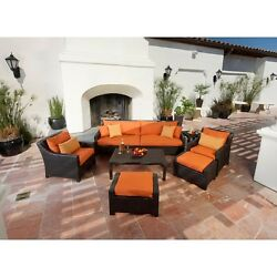 Patio Furniture Set Outdoor Garden Lounges Sofa Chairs and Table Orange 8 Pieces