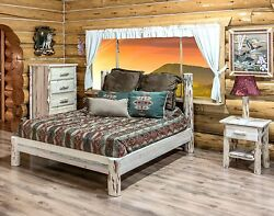 AMISH Log Bedroom SET Rustic Lodge Cabin QUEEN Bed Dresser Lamp and Nightstand