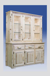 Amish Made China Hutch Rustic Log Cabinet Lodge Cabin Dining Room Furniture