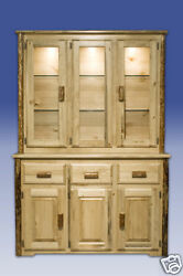 Log China Cabinet Amish Made Solid Pine Hutch Rustic Lodge Cabin Furniture