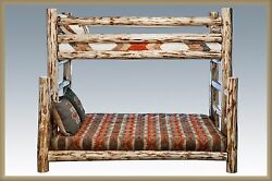 Log TWIN OVER FULL Bunk Bed Rustic Lodge Bunkbeds Amish Made Cabin Furniture