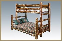 TWIN OVER FULL Bunk Bed Amish Made Log Beds Rustic Cabin Style Furniture