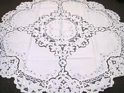 White Wedding Events Embroidered Fabric Tablecloth 72x72quot; Round 6 Napkins $35.00
