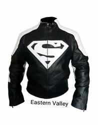 New Mens SUPERMAN Motorcycle Racing Biker 100% Cowhide Leather Jacket ALL SIZES. $152.00