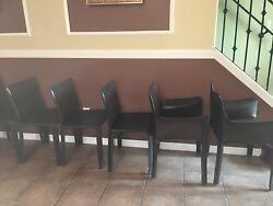 8 Vintage Leather Cassina chairs (413 CAB) Two arm six single