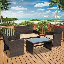 Patio Outdoor Furniture Wicker 4pc Cushioned Set Removable Covers Brown