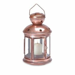 Copper-look Metal Colonial Candle Lantern