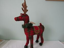 Christmas Holiday Red Plaid Reindeer Plush Log Cabin Rustic Winter Decor 21