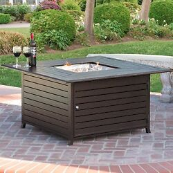 Extruded Aluminum Gas Outdoor Fire Pit Table wCover Resists Weathering Brown