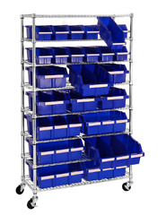 24 Bin Rolling Cart Tools Crafts Garage Shop Nuts Bolts Rack Sewing Supplies New