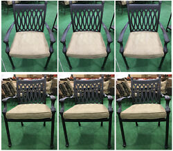 Patio dining chairs set of 6 Tuscany collection cast aluminum sunbrella cushions