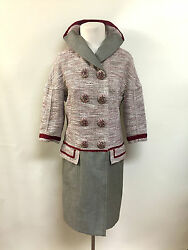 LOUIS VUITTON PinkIvoryOlive Double-Breasted Dress Coat Jeweled Buttons Sz364