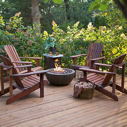 Patio Set With Fire Pit Wood Chairs Propane Hideaway Tank 5 PC Conversation