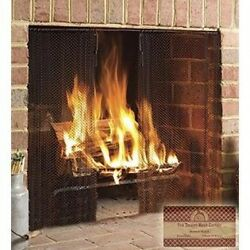 Midwest Hearth Fireplace Screen Mesh Curtain. 2 Panels Each 60cm Wide. Includes